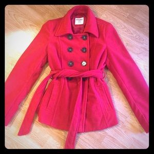 Like New Red Pea Coat Small - Old Navy